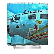 B-17 Aluminum Overcast Pin-up Shower Curtain