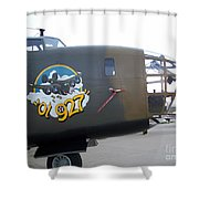 B-24 Nose Art Shower Curtain