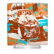 B-25 Blue Brown Shower Curtain
