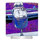 B-25 Blue Purple Shower Curtain