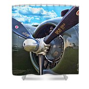 B-25 Engine Shower Curtain
