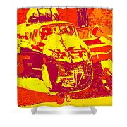 B-25 Red Yellow Shower Curtain