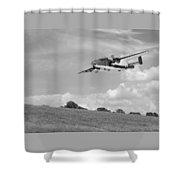B-25 Warbird Returns - Black And White Shower Curtain