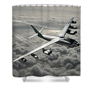 B-47e Stratojet With Contrails Shower Curtain