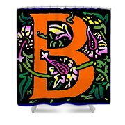 B In Orange Shower Curtain
