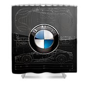 B M W  3 D  Badge Over B M W I8 Silver Blueprint On Black Special Edition Shower Curtain