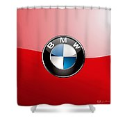 B M W Badge On Red  Shower Curtain by Serge Averbukh