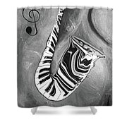Piano Keys In A Saxophone B/w - Music In Motion Shower Curtain