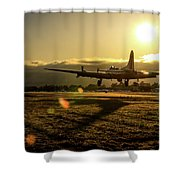 B17 Landing At Livermore Shower Curtain