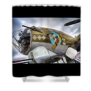 B17 Nine-o-nine Nose Art V2 Shower Curtain