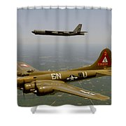 B17g And B52h In Flight Shower Curtain