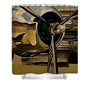 B25 Mitchell Bomber Starboard Engine 1943  Warbirds Shower Curtain