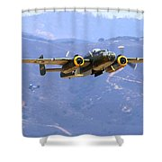 B25 Mitchell Flyby At Salinas Shower Curtain