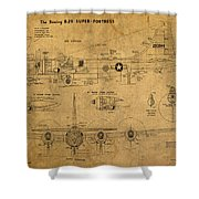 B29 Superfortress Military Plane World War Two Schematic Patent Drawing On Worn Distressed Canvas Shower Curtain