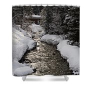 Babbling Brook, Early Spring, Lake Louise, Alberta Shower Curtain