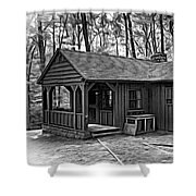 Babcock State Park Cabin - Paint Bw Shower Curtain
