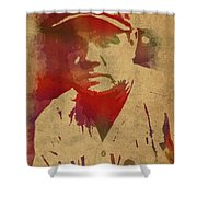 Babe Ruth Baseball Player New York Yankees Vintage Watercolor Portrait On Worn Canvas Shower Curtain