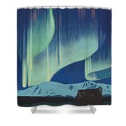 Babine Mountains Aurora Shower Curtain