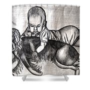 Baby And Dog Shower Curtain
