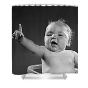 Baby Appearing To Make A Point Shower Curtain