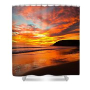 Baby Blue And Tangerine Sky Shower Curtain