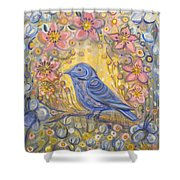 Baby Blue Bird Garden Shower Curtain