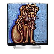 Baby Blue Byzantine Lion Shower Curtain