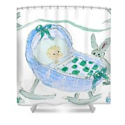 Baby Boy With Bunny And Birds Shower Curtain