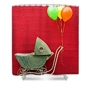 Baby Buggy With Red Wall Shower Curtain