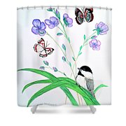 Baby Chickadee And Butterflies Shower Curtain