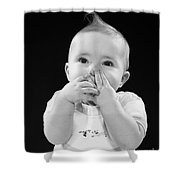 Baby Covering Mouth With Hands, C.1950s Shower Curtain