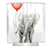 Baby Elephant Watercolor Red Balloon Shower Curtain