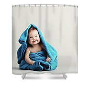 Baby Girl Covered With A Blue Warm Blanket Shower Curtain