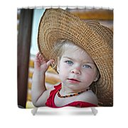 Baby Girl Wearing Straw Hat Shower Curtain