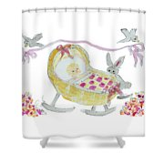 Baby Girl With Bunny And Birds Shower Curtain