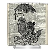 Baby Pram Over A Vintage Dictionary Page Shower Curtain by Anna W