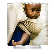 Baby In A Sling Shower Curtain