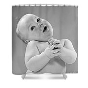 Baby In Sentimental Pose, C.1950s Shower Curtain