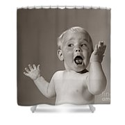 Baby Looking Excited, C.1960s Shower Curtain