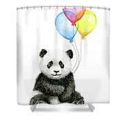 Baby Panda Watercolor With Balloons Shower Curtain