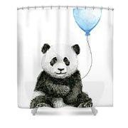 Baby Panda With Blue Balloon Watercolor Shower Curtain