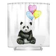 Baby Panda With Heart-shaped Balloons Shower Curtain