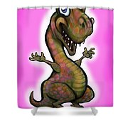 Baby T-rex Pink Shower Curtain