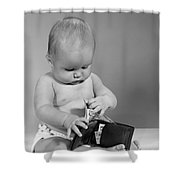 Baby Taking Money From Wallet, C.1960s Shower Curtain