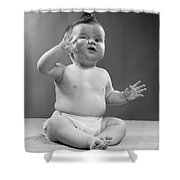 Baby With Odd Expression, 1950s Shower Curtain