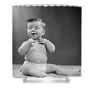 Baby With Vain Expression, 1950s Shower Curtain