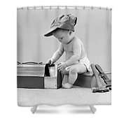 Baby With Work Tools And Lunch Pail Shower Curtain