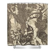 Bacchanal With Figures Carrying A Vase Shower Curtain