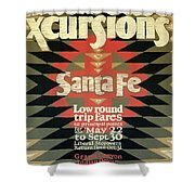 Back East Xcursions - Santa Fe, Mexico - Indian Detour - Retro Travel Poster - Vintage Poster Shower Curtain