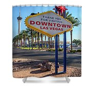 R.i.p. Back Of The Welcome To Downtown Las Vegas Sign Day Shower Curtain